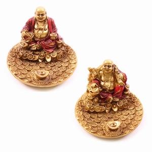 Lachende Chinese Boeddha Rood & Goud Rond Wierookhouder