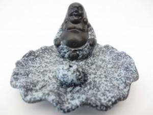 Wierookhouder Lachende Boeddha Grijs