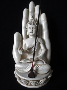 Wierookhouder Boeddha met hand wit