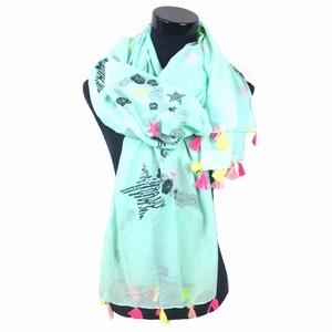 Sjaal ster hart & Kwastjes-mint