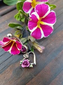 Hart met roos paars