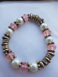 Roze, parel armband