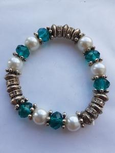 Blauw, parel armband