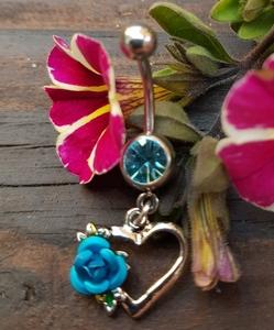 Hart met roos Blauw