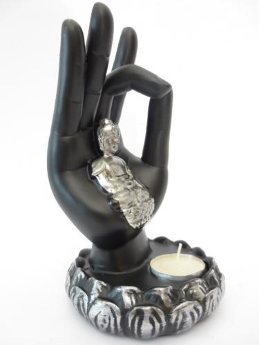 Wierookhouder Zwarte Boeddha Hand zwart