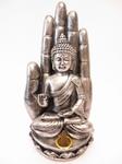 Wierookhouder Boeddha met hand Zilver